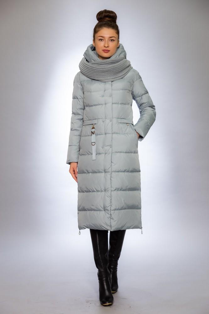 Женская куртка зимняя 677 ментол снуд в комплекте