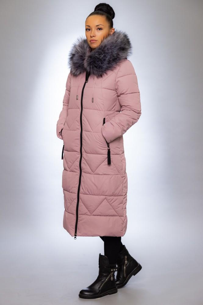Женская куртка зимняя 19102 пудра искусственный мех